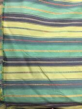 striped raised weave fabric backed by the yard shades of green blue se7en ingrid