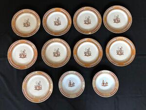 11 Pieces Gildea Walker Bates Etruscan Vases Transferware Lustre Plates Bowls