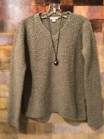 J. CREW Long Sleeve Boiled Wool V-Neck Sage Green Sweater Sz XS (0-4)