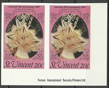 Saint Vincent Big Drum Music 10th Vincy Mas Carnival Imperforated Pair ** 1987