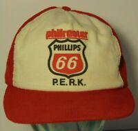 Vintage 1980s PHILLIPS 66 GAS OIL CORDUROY SNAPBACK TRUCKER HAT CAP MADE IN USA