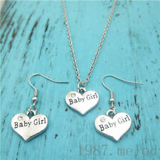 baby girl silver Necklace earring pendants,Charms Gift  jewelry sets