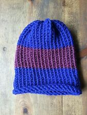 Brand New Handmade Knitted Adult Men or Women Winter Hat-Blue & Purple Striped