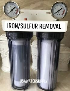 """Iron/Sulfur Removal Whole House Water Filter System Drinking Water 3/4"""" PORTS"""