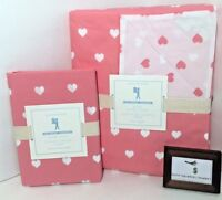 Pottery Barn Hearts Twin Duvet Cover With Standard Sham Valentines Day New Nwt