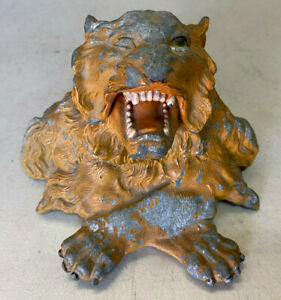Antique Ink Well Tiger Lion Head Paws Crossed Circus Animal Inkwell Paint 1890's