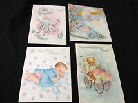 #97 Precious Lot Of 4 Vintage Baby Congrats Greeting Cards Fun!
