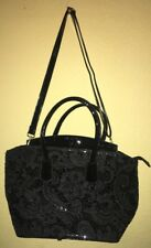 Designer Inspired Black With Lace Over Layer Handbag Purse