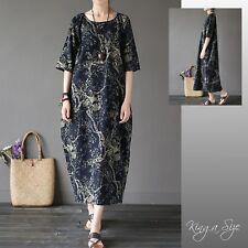 Design JOHNATURE Kleid Lagenlook Maxikleid Leinenkleid schwarz natur Gr.46