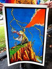 Vintage NOS Original Rock & Roll Wizard sorcerer Metal Poster 1971 Dayton Ohio