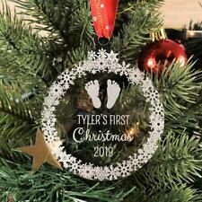 Personalised Christmas Bauble Engraved Tree Decoration Gift - Baby's 1st Xmas