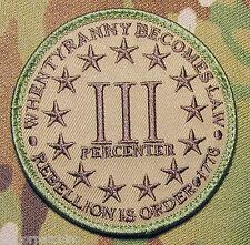 3 PERCENTER REBELLION IS ORDER 1776 ARMY  MULTICAM VELCRO® BRAND FASTENER PATCH