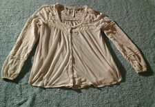 Free People Gauzy Lace see Through Button Down Pullover Top  Loose Fitting Sz S