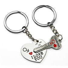 1 pair I Love You Heart Key Chains - Matching Pair of Romantic Keyrings for Gift