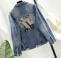 2021 spring fashion women's ripped embroidered Denim Short Jacket Coat Outwear