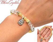 Citrine Quartz Buddha Beaded Bracelet 8mm Crystal Beads Stretch #DB12