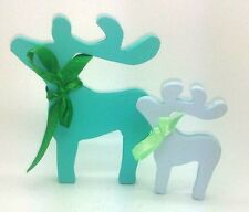 GREEN PALE BLUE DEER REINDEER BIRTHDAY CHRISTMAS DECORATION SHABBY CHIC HOME