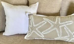 NWT Ralph Lauren Irish Linen Decorative Feather Pillow Amaral 20x20-Deco White
