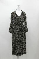 MANGO Ladies Black & White Foliage Printed Collared Button-Up Wrap Midi Dress M