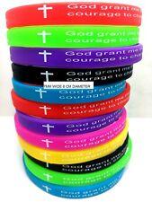 NEW 12pcs Color MIX Serenity prayer Bible Cross Silicone Bracelets 7mm Width