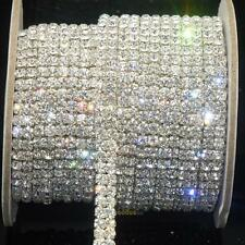 Fashion 2-Row Clear Crystal Rhinestone Trims Close Chain Silver ss16 x 1 yard