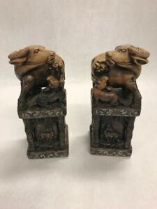 Vintage Chinese ASIAN pair Oxen OX baby Stamp seal bookend Stone Oriental
