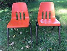 """Lot of 2 Vintage Virco School Chair 14"""" Seat Height Orange (C)"""