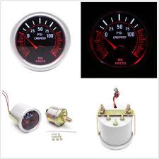 2'' 52mm Round DC12V Car LED Bar Turbo Oil Pressure Gauge Meter Red Illuminated