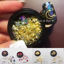 AB 3D Rhinestones Crystal Jewelry Gear Gold Star Moon Chain Nail Art Decals