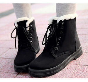 Womens Winter Snow Fur Lined Lace Up Flat High Ankle Boots Round Toe Shoes Plus