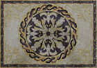 Exquisite Floral Design Twsited Rope Border Home Decor Marble Mosaic GEO1988