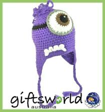 Minions Purple Character Hand Made Beanie Crochet Knit Hat Girl's Boy's One Size