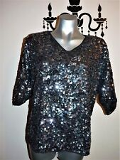 VINTAGE STUNNING 80's SEQUIN BEADED TROPHY EVENING PARTY DISCO TOP SIZE 10