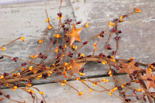Pip Berry Garland 40 inch Burgundy Gold Rusty Stars Country Primitive Decor