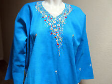 New India Chikan Lucknow 100% Cotton Woman Kurta Kurti Turquoise Ladies Top