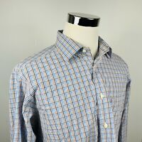 David Donahue Mens 17 1/2 34/35 Trim Fit Dress Shirt Blue Brown Plaid Cotton