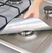 4x Silver Gas Range Stove Oven Burner Protectors Non-Stick Square Protective Pad