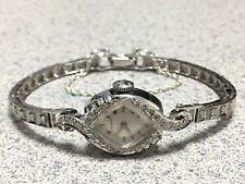 Vintage LONGINES 76 diamond watch 14K gold case/band tennis bracelet Signed 4x