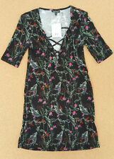 Topshop RRP £32 ladies black floral lace up front jersey dress size 8 ribbed