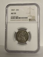 1847-P Seated Liberty Quarter NGC AU53 Great Eye Appeal Strong Strike
