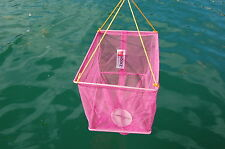 HOOKZONLINE PINK RECTANGULAR CRAB DROP NET with BAIT CLIP & ROPE