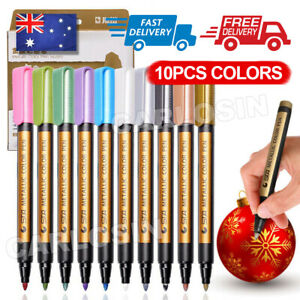 10pcs/set Acrylic Paint Pens Sets Fine Art Marker Metal Glass Rock Waterproof AU