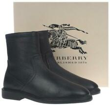NEW BURBERRY MEN'S BLACK LEATHER SHEARLING LINED ZIP ANKLE BOOTS SHOES 42/9