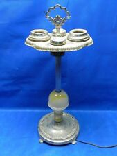 1900's ANTIQUE ART DECO FLOOR STANDING CHROME ASHTRAY W LIGHT 29 INCH TALL