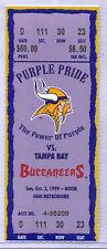 Minnesota Vikings Tampa Bay Buccaneers 10/3/99 Full Unused Ticket Randy Moss TDs