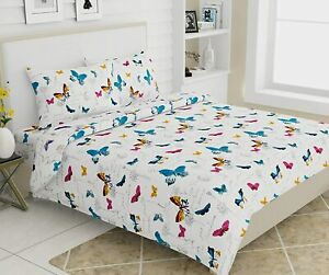 186TC,100% Cotton Butterfly Printed King Size Bedsheet With 2 Pillow Covers,Blue