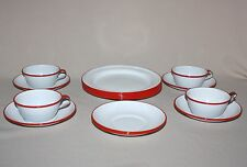 Vintage Enamelware 4 Coffee Cups 6 Saucers 6 Salad Plates Red White Camp Enamel