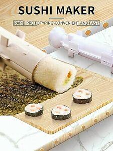 Sushi Maker Kit Rice Roll Mold Bazooka Kitchen DIY Easy Food Roller Tool White