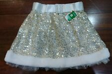 Claires Girl's M/L Dress Up Costume Skirt Gold Sparkle & Snow Trim New With Tags