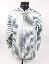 Chaps Mens Dress Shirt Sz 15-15.5 | 32/33 Long Sleeve Button Front Yellow Blue